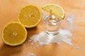 Tequila shot with lemon and salt Stock Photography