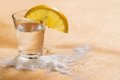 Tequila shot with lemon and salt Royalty Free Stock Photography