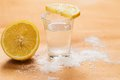 Tequila shot with lemon and salt Royalty Free Stock Image