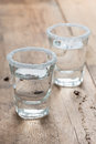 Tequila shots on the table selective focus Stock Photos