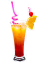 Tequila sunrise cocktail isolated white background Stock Photo