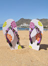 Teresitas beach tenerife island canaries flip flops on the Royalty Free Stock Photography