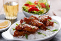 Teriyaki chicken with rice and salad japanese cuisine Royalty Free Stock Photo