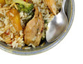 Teriyaki chicken rice vegetables bowl spoon close a corner view of a of sweet with and Stock Photos