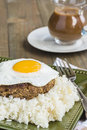 Teriyaki loco moco a traditional hawaiian dish of teriyaka flavored ground beef patty and a fried egg on a bed of rice smothered Royalty Free Stock Photography