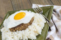 Teriyaki loco moco a traditional hawaiian dish of teriyaka flavored ground beef patty and a fried egg on a bed of rice smothered Stock Photography