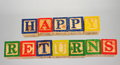 The term happy returns presented visually Royalty Free Stock Photo