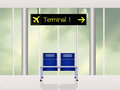 Terminal in the airport scene Royalty Free Stock Photo