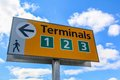 Terminals sign yellow from airport Royalty Free Stock Image