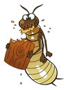 Termite eats wood cartoon piece of cartoon pest series Royalty Free Stock Image