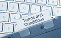 Terms and conditions on folder tab with computer keyboard Stock Photo