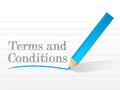 Terms and conditions written on a notepad paper Stock Image