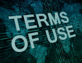 Terms of use text concept on green digital world map background Royalty Free Stock Photo