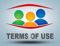 Terms of use text illustration concept on grey background with group people icons Stock Photo