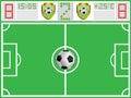 Terra de futebol e placa dos esportes Imagens de Stock