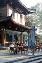 People enjoy their beverages at a cosy terrace along the West Lake (Unesco) in Hangzhou, China