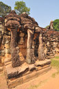 Terrace of the elephants angkor thom near siem reap cambodia in Royalty Free Stock Images