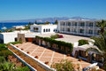The terrace of Greek luxury hotel Royalty Free Stock Photo