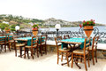 The terrace near beach at luxury hotel bodrum turkey Royalty Free Stock Photos