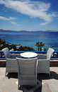 Terrace overlooking the Aegean Sea Royalty Free Stock Photo