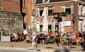 Terrace people enjoying on a in the center of groningen of the beautiful weather Royalty Free Stock Photo