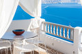 Terrace with view of the caldera in Santorini Royalty Free Stock Photo