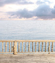 Terrace view with sea and cloudy sky blue Royalty Free Stock Photo