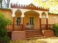 Terrace of village house in autumn. Melekhovo Stock Photos