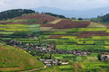 Terraced fields and village Royalty Free Stock Images