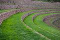 Terraces at moray sacred valley peru green near maras of incas peruvian andes Royalty Free Stock Photography