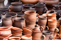 Terracotta ceramics mugs souvenirs at str Royalty Free Stock Photo