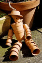 Terracotta flower pot man sunlight Stock Images