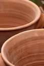 Terracotta pots detailed view of some portrait cut Royalty Free Stock Photos