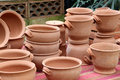 Terracotta pots some in an exposition landscape cut Stock Photography