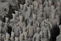 Terracotta soldiers unearthed warriors on display Stock Photography