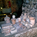 Terracotta vessels of placed in monastero dei benedettini catania Stock Photos