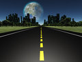 Terraformed moon as seen from highway on earth future Stock Photography