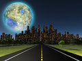 Terraformed moon as seen from highway on future earth Stock Photos