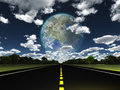 Terraformed moon seen from earth highway Stock Photo