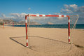 Terrain de football de plage Photos stock