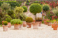 Mediterranean patio with flowerpots Royalty Free Stock Photo