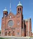 Terre haute church this is a spring picture of st benedict catholic located in indiana the is an example of the romanesque Royalty Free Stock Photography