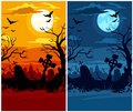 Terrible halloween cemetery moon night and sunset Stock Photography