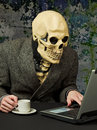 Terrible person - skeleton uses Internet Royalty Free Stock Image