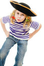 Terrible pirate girl in shirt and hat Royalty Free Stock Photography