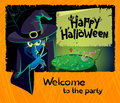 Terrible witch halloween party invitation with Royalty Free Stock Photos