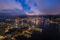Terrific night view of hong kong taken from sky Royalty Free Stock Photo