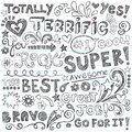 Terrific work praise phrases sketchy doodle encour super student hand lettering back to school notebook doodles hand drawn Stock Photos
