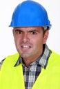Terrified foreman Royalty Free Stock Photo