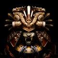 A terrifying Golden samurai helmet with a tiger mask